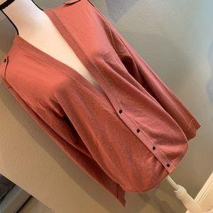 REISS Longline Mauve Wool Cardigan Size XL